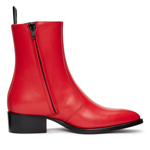 Womens Lucia 40mm Side Zip Boot - Red Leather