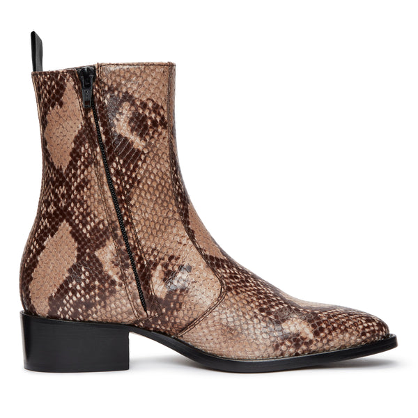 Womens Lucia 40mm Side Zip Boot - Beige Snake-Effect