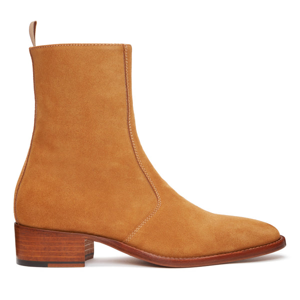 Womens Lucia 40mm Side Zip Boot - Camel Suede