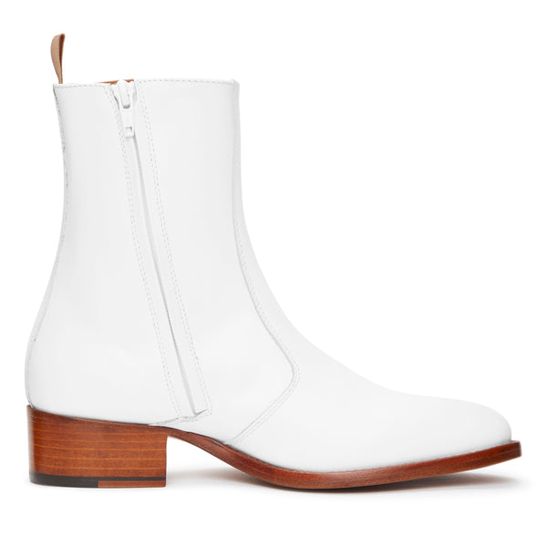 Womens Lucia 40mm Side Zip Boot - White Leather