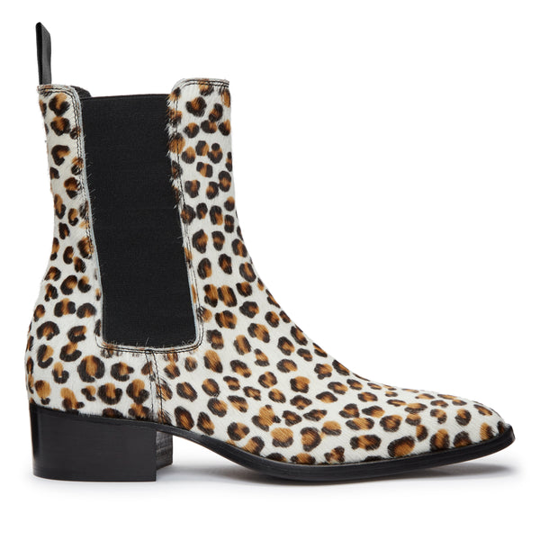 Womens Mara 40mm Chelsea Boot - Leopard Pony hair