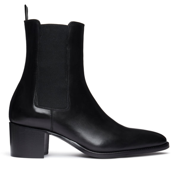 Marco 60mm Side Zip Boot - Black Leather