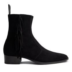 Marcus 40mm Fringe Zip Boot - Black Suede