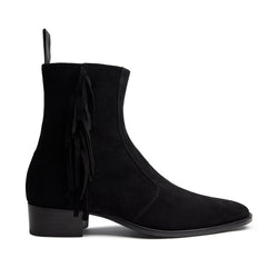 Mia 40mm Fringe Zip Boot - Black Suede