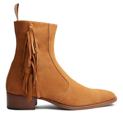 Marcus 40mm Fringe Zip Boot - Camel Suede