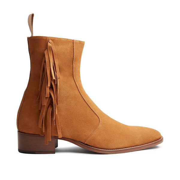 Womens Mia 40mm Fringe Zip Boot - Camel Suede