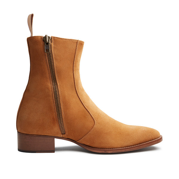 Mia 40mm Fringe Zip Boot - Camel Suede