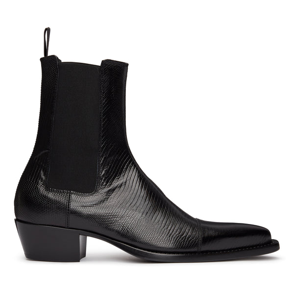 Paolo 45mm Chelsea Boot - Black Lizard-Effect