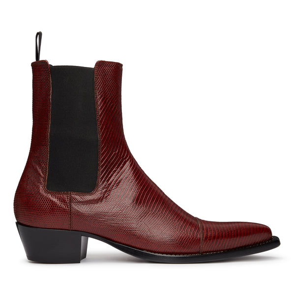 Paolo 45mm Chelsea Boot - Marron Lizard-Effect