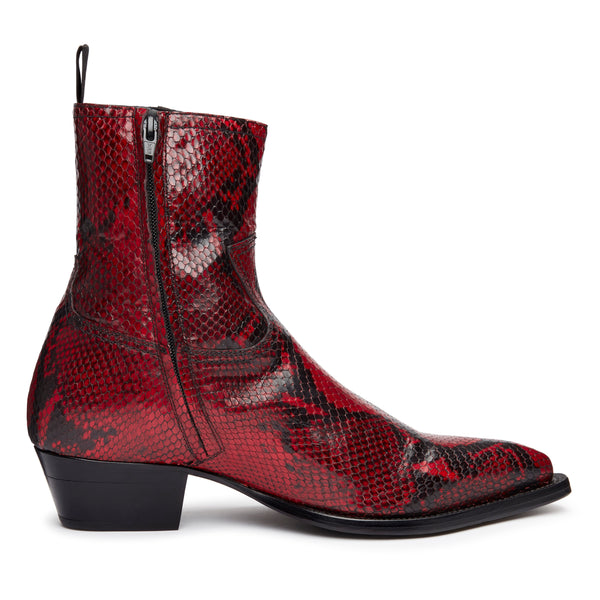 Diego 45mm Side Zip Western Boot - Red Snake-Effect