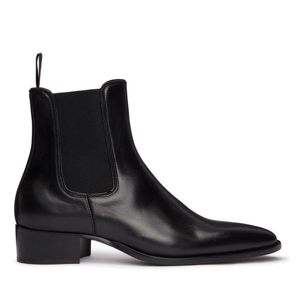 Stefano 40mm Short Chelsea Boot - Black Leather