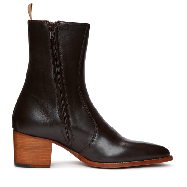 Gianni 60mm Side Zip Boot - Brown Leather