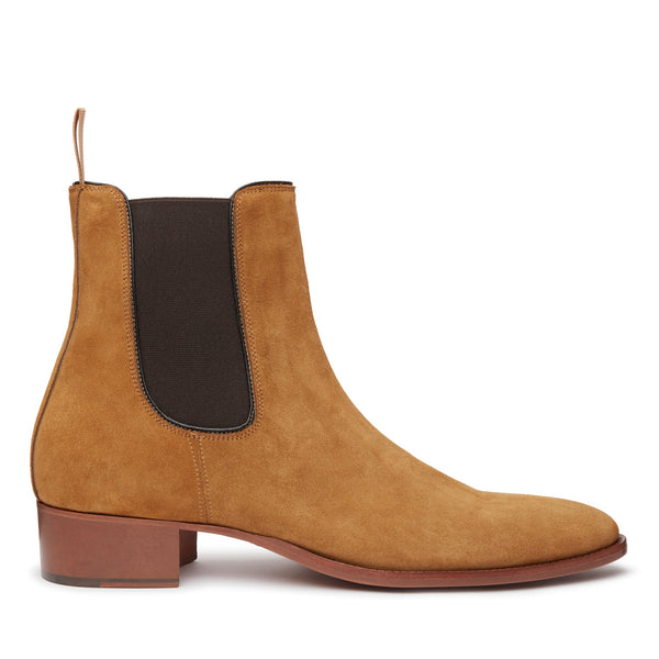 Stefano 40mm Short Chelsea Boot - Ochre Suede