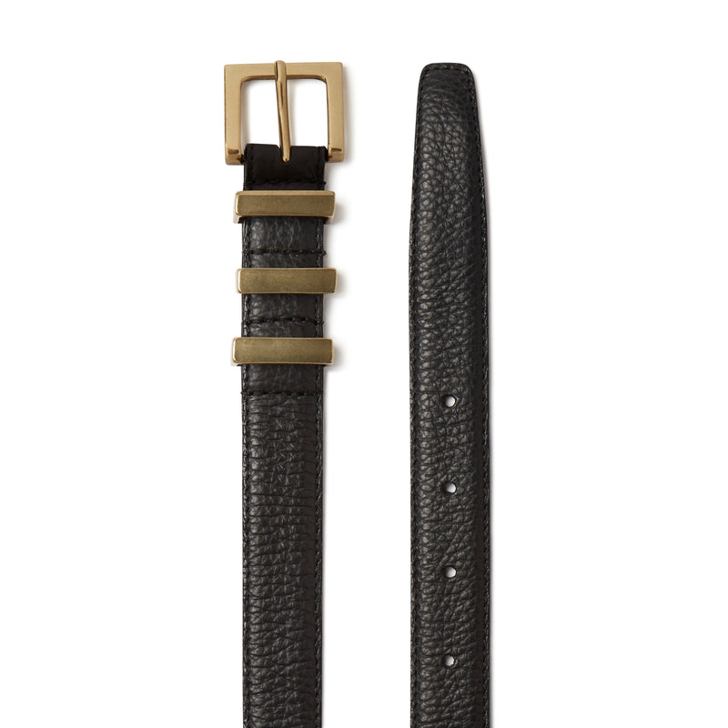 Three Passant Belt - Gold/Black Grained Leather