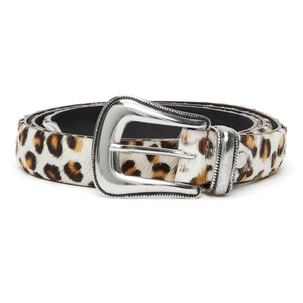Western Belt - Leopard Print Pony Hair