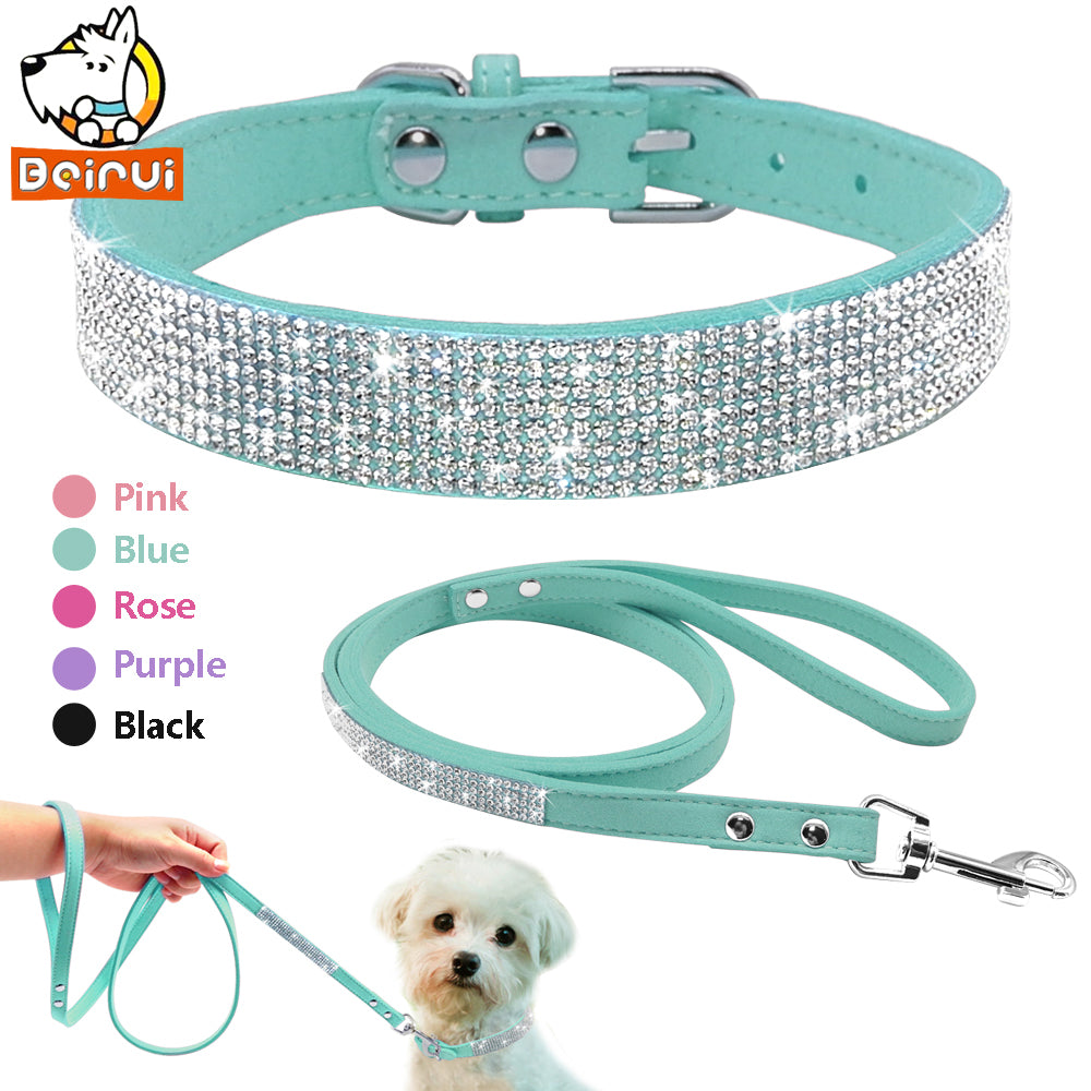 Suede Bling Collar and Leash Set - Fur Pants