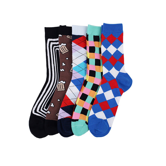 Mens Dress Socks Combed Cotton 5 Pair Pack  - 20 Design Options