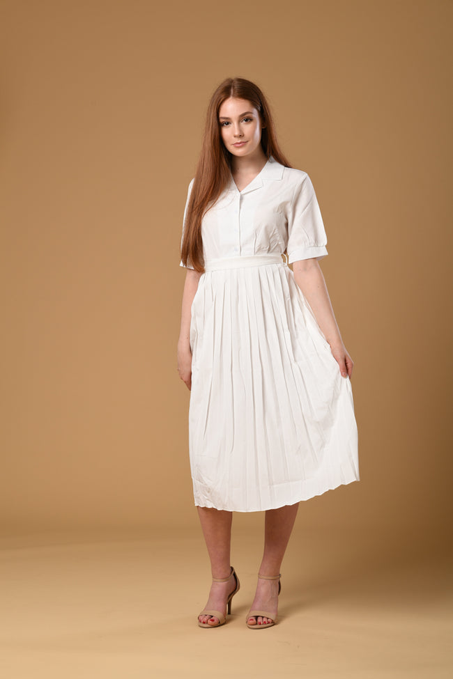Pleated Shirt Dress In White