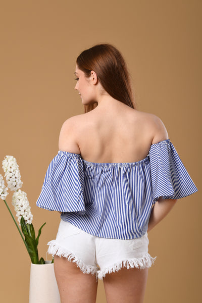 Cropped Stripe Off-Shoulder Top