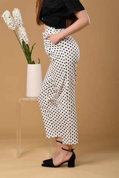 Polka Dot Pants In White