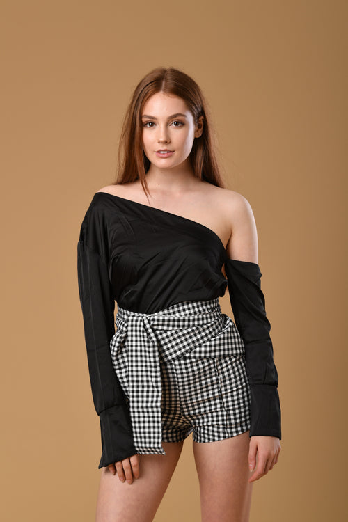 Slanted Sleeves Top In Black Satin