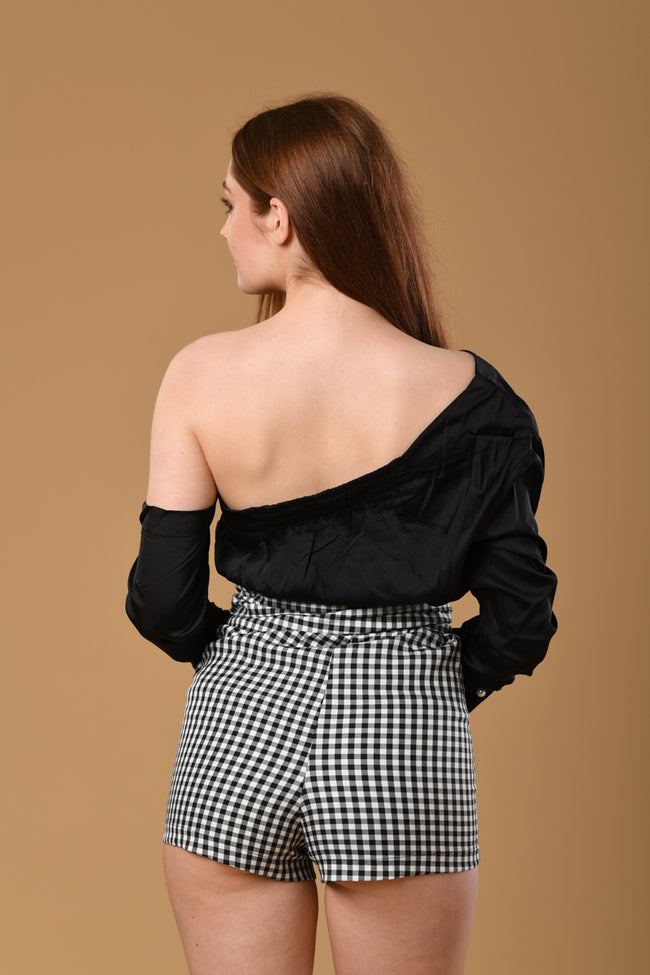 Waist Tie High-waisted Shorts In Gingham