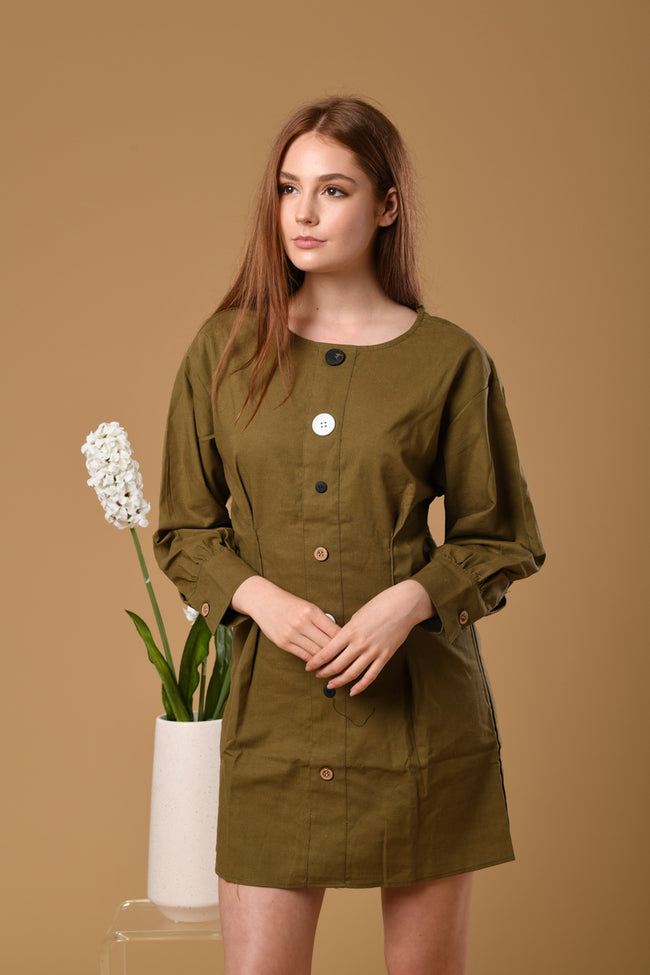 Full Button Dress In Army Green