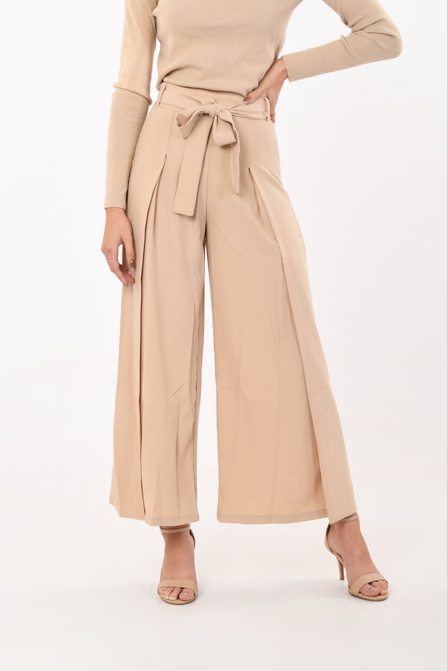 Ribbon Wide Leg Pants in Beige