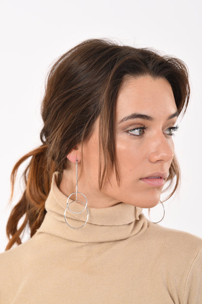 Double Ring Dangling Earrings