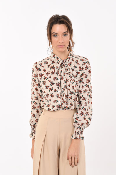 Bow Rose Print Shirt