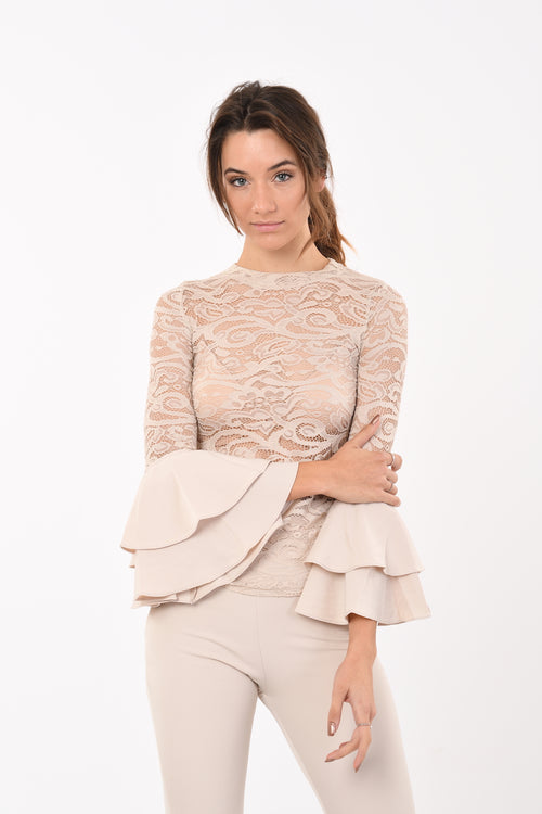Laced Ruffled Sleeves Top