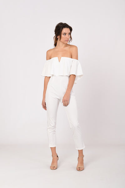 Off-Shoulder V Cut Jumpsuit