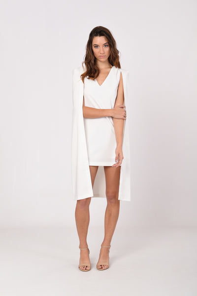 Reigns Cape Dress in White