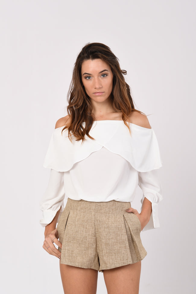 Ruffled Off-Shoulder Top In White