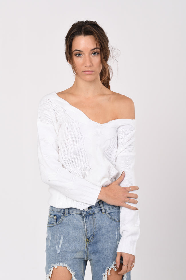 Wide Neck Knit In White