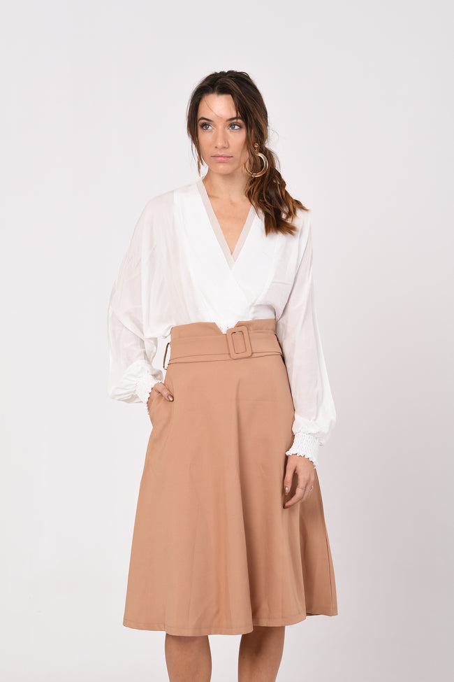 Oko Mid-Length Skirt In Brown