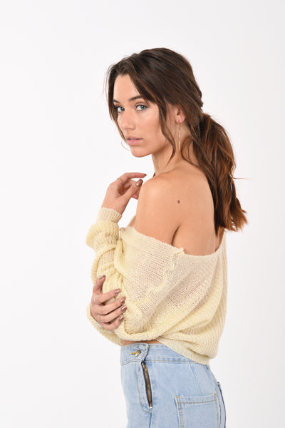 Twisted Off-Shoulder Knit