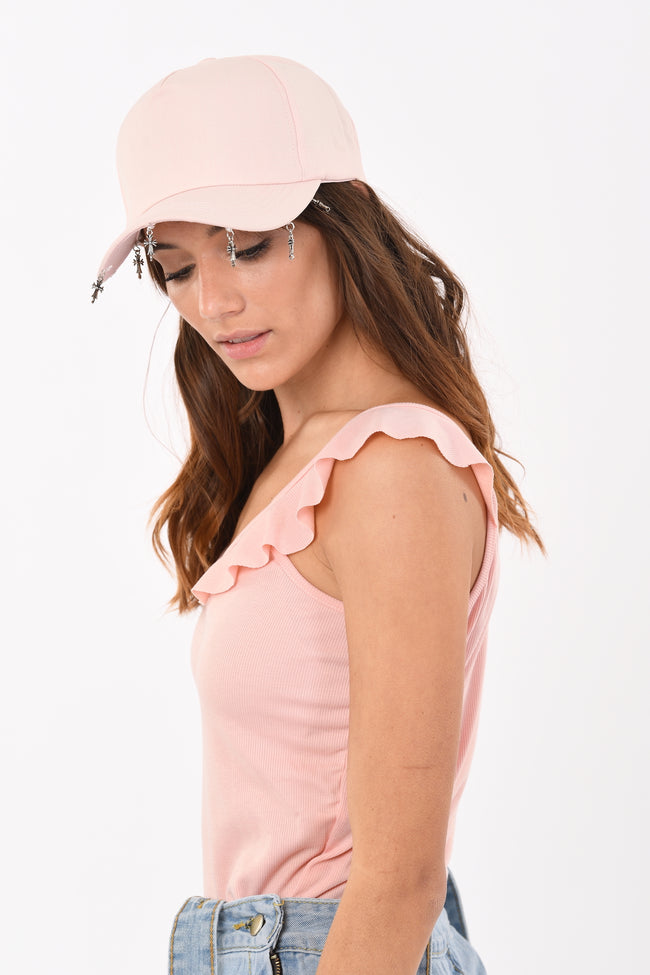 Sleeveless Ruffled Top In Pink