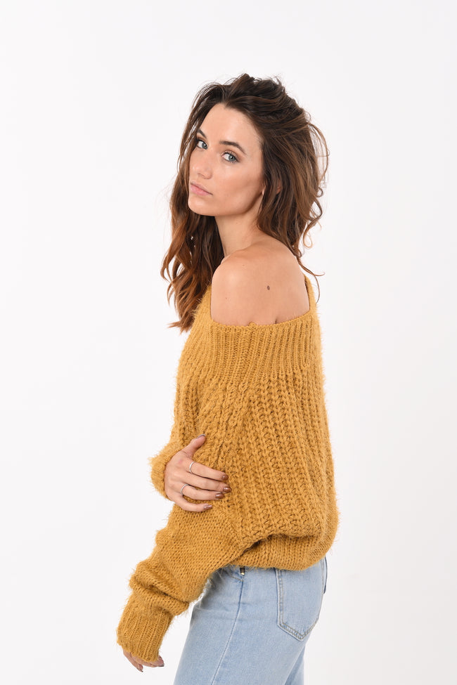 Crop Soft Knit in Mustard