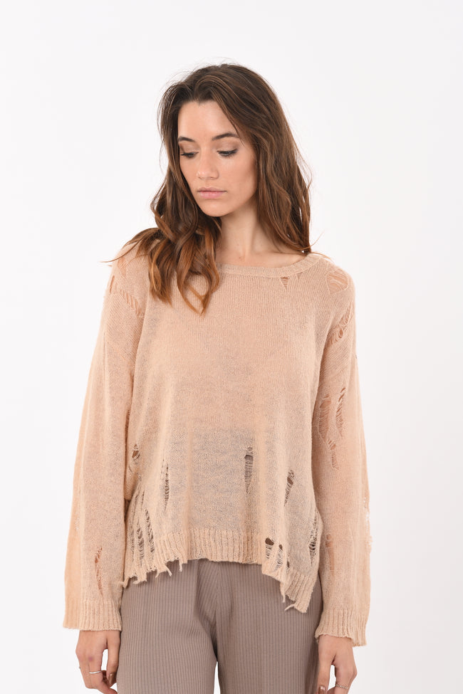 Ripped Knit In Beige