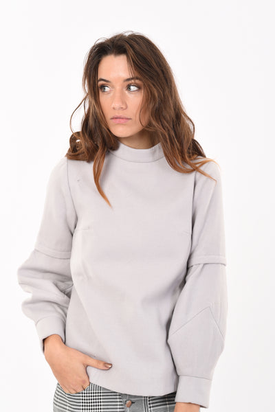 Suede Puffed Sleeve Long Sleeve Top