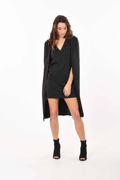 Reigns Caped Dress in Black