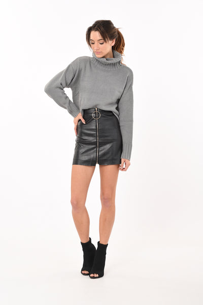 Turtle Neck Knit In Grey