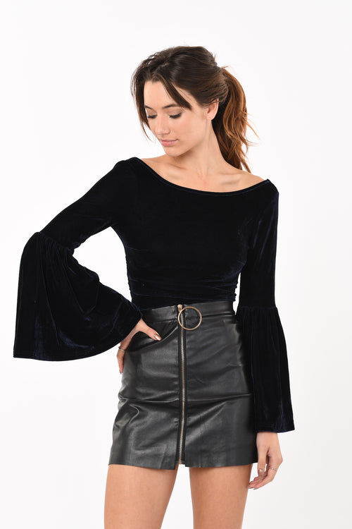 Wide Sleeve Suede Crop Top