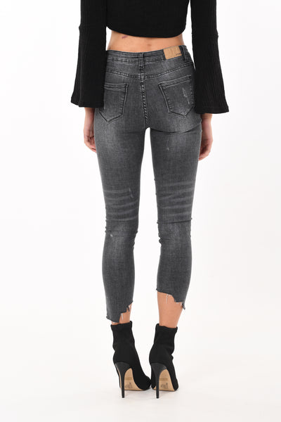 Cut Out Washed Denim Grey