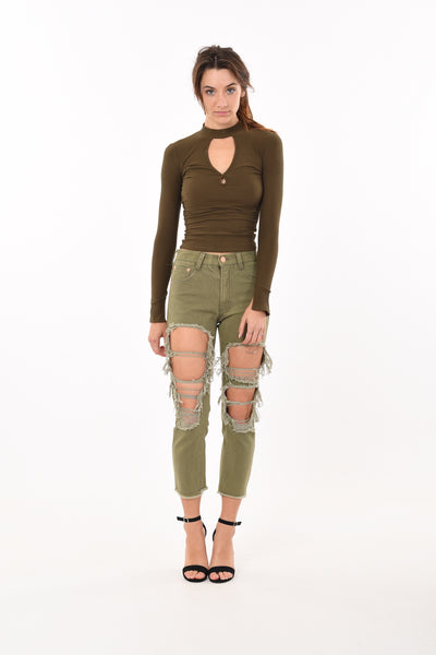 Tear drop Cut Top In Army Green