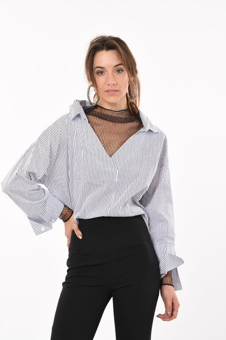 Trumpet Long Sleeve Crop Top In Brown