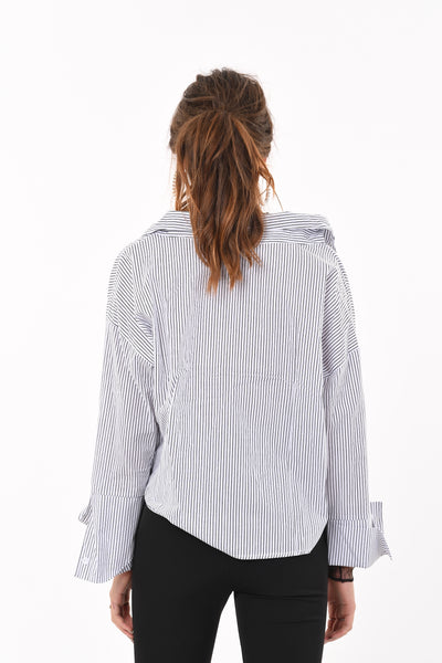 Netted V-Neck Stripe Shirt