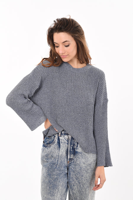 Ruffled Zipped Jumper In Navy