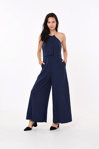 Gold Ring Neck Jumpsuit In Blue